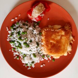 Gluténmentes, vegán rántott sajt rizi-bizivel